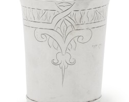 2012. a commonwealth silver beaker, maker's mark ic in heart, five-pointed star below, london, 1658