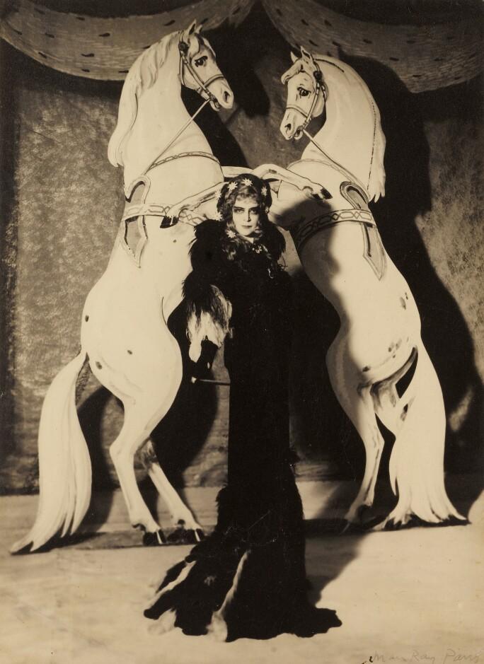 Man Ray, La Marquise Casati, 1935. Vintage silver print, flush-mounted to original card