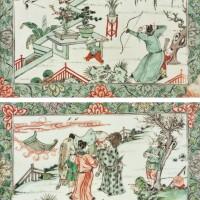 347. 清康熙 五彩人物故事圖瓷板兩件  