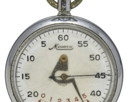 6. minerva   a stainless steel stopwatch with five minute countercase 908753 circa 1970