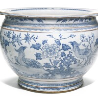336. a blue and white 'pheasant and flower' fish bowl qing dynasty
