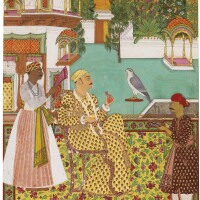 52. ma'ali mian saif al-mulk inspecting jewels, ascribed in a contemporary english hand to rai venkatchellam, hyderabad, circa 1795