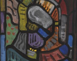 97. evie hone | cartoon for the left hand stained glass panel, naithi's baptistry, dundrum