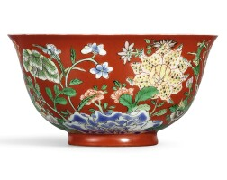 3648. a rare coral-ground famille-verte 'floral' bowl yuzhi mark and period of kangxi |