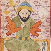 46. an illustration from a series on divination and omens (falnamah): the figure of saturn, india, mughal, circa 1580
