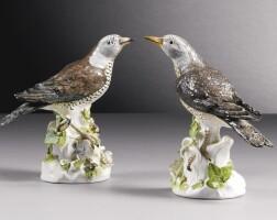 20. an assembled pair ofmeissenfigures of thrushes circa 1745-50