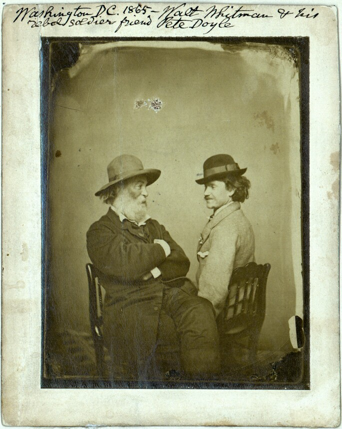 A photograph of the poet Walk Whitman and his friend, lover, and muse, Peter Doyle.