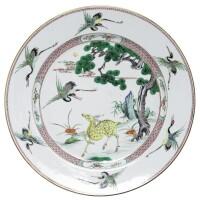 6. a chinese export famille-verte large dish kangxi period, (1662-1722)