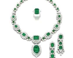 1862. 祖母綠配鑽石套裝, 梵克雅寶(van cleef & arpels)