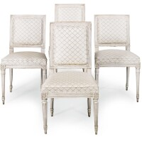 994. twomatched pairs of louis xvi grey painted chairs, late 18th century, two partially illegibly stamped leg...