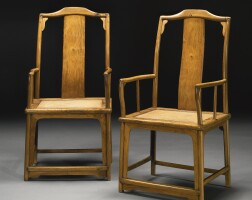 492. a pair of huanghuali continuous yokeback armchairs (nanguanmaoyi) ming dynasty, 17th century