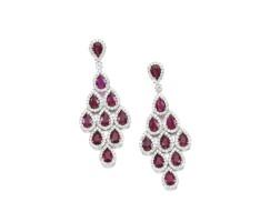 197. pair of ruby and diamond earrings