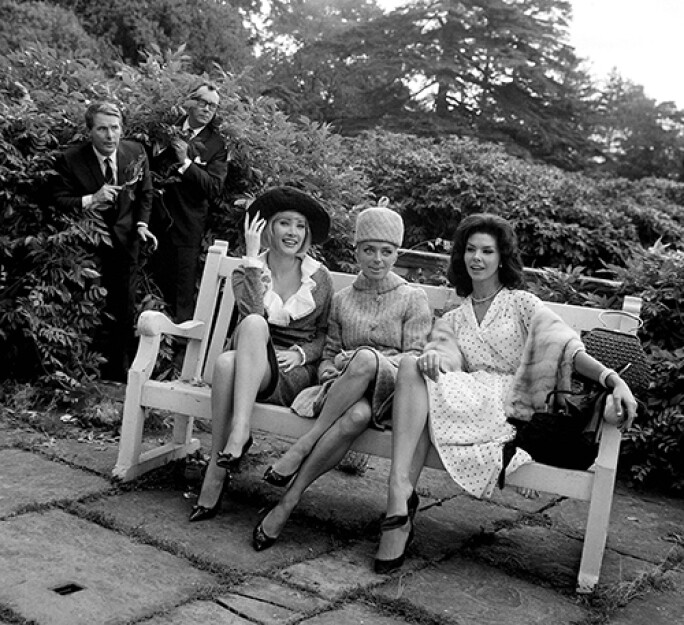 Film The Intelligence Men October 1964 Eric Morcambe and Ernie Wise signed a contract at Pinewood studios to appear in a film Coming from behind the bushes Eric and Ernie see Jacqueline jones April olrich and Gloria Paul on a bench