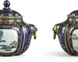 3628. a pair of gilt-decorated blue-ground famille-rose miniature jars and covers seal marks and period of qianlong