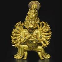 711. agilt-bronze figure depictingvajrabhairava tibet,14th century
