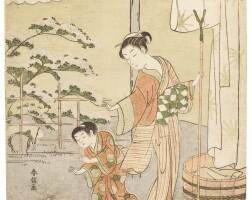 2. suzuki harunobu (1725–1770)fujiwara no motozane edo period, 18th century | poem by fujiwara no motozane, from the series thirty-six poets, edo period, circa 1767–68