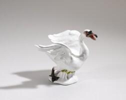 42. a meissen figure of a swan circa 1750