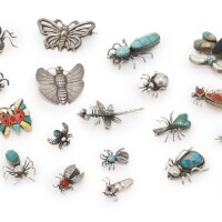 6. group of twenty-three southwestern silver pins with insect motifs