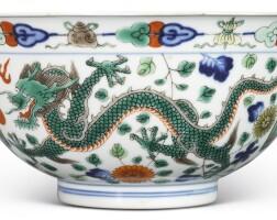 2. a wucai 'dragon and pheonix' bowl qianlong seal mark and period
