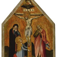 103. simone di filippo, called simone dei crocifissi | crucifixion with the virgin mary, mary magdalene, and st. john the evangelist mourning