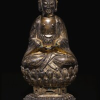 311. a rareinscribed gilt-silver figure of amitabha dated wanli 20th year, corresponding to 1592 |