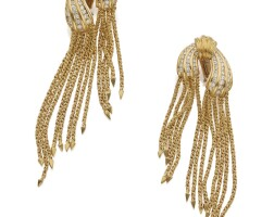36. pair of gold and diamond earclips, henry dunay