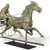 1779. molded copper horse and sulky weathervane, attributed to a.l. jewell, waltham, massachusetts, circa 1860 |