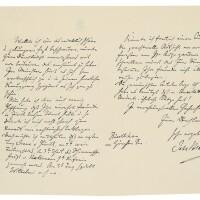"167. brahms, johannes. autograph letter signed (""joh:brahms"") to princess helene of nassau (""gnädigste frau prinzessin"")"