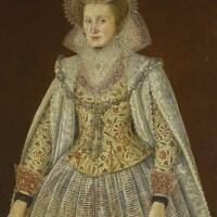 129. circle of robert peake | portrait of a lady, three-quarter length, wearing an embroidered waistcoat, with lace collar and cuffs