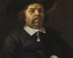 106. domenicus van tol   portrait of a gentleman, half-length, wearing a black hat and coat, holding a pair of gloves