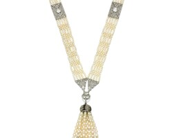 28. seed pearl and diamond sautoir, early 20th century, composite