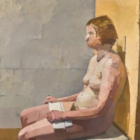 15. euan uglow   nude with white towel