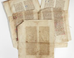 3. leaves from secular and liturgical manuscripts, in french and latin [france, italy, bohemia(?), 14th and 15th centuries]
