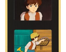 1026. castle in the sky by studio ghibli   pazu aimation cel (two works)