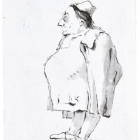 337. giovanni battista tiepolo | a caricature of a man, in profile, wearing a hat and a pair of spectacles