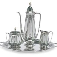 8. an american silver and enamel three-piece coffee set, tiffany & co., new york, circa 1926 |