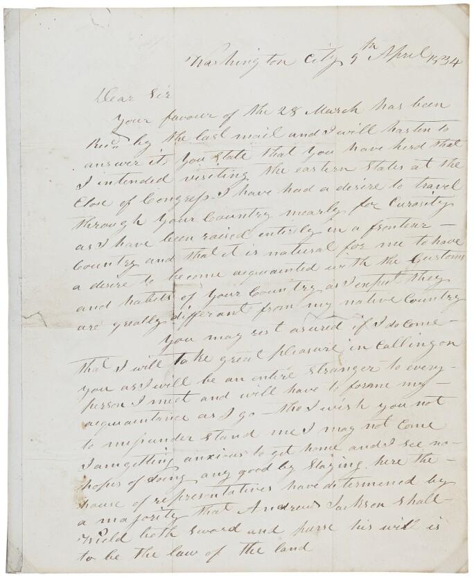 A letter written by Davy Crockett.