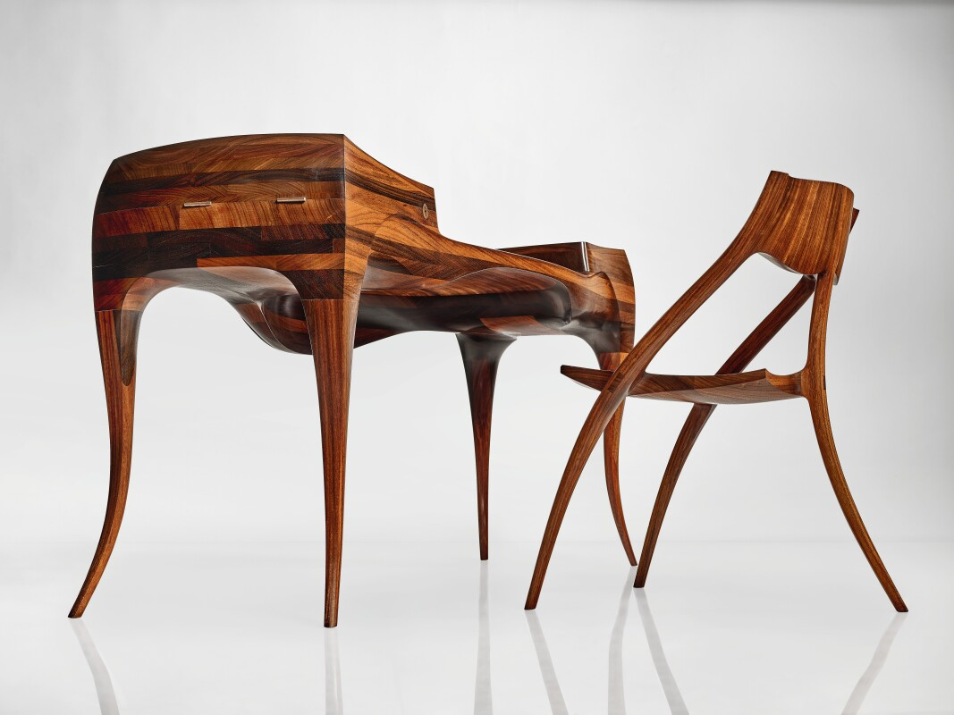 "Throwing Curves: An Important ""Vermillion"" Desk and Chair by Wendell"