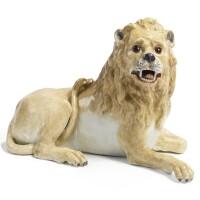 388. a meissen reclining figure of a lion circa 1760