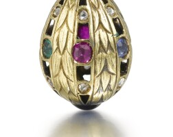 314. a jewelled gold egg pendant, circa 1900