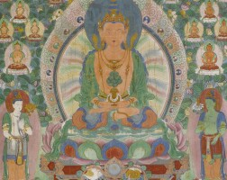 408. a silk thangka depicting amitayus       china, qing dynasty, dated 7th year of jiaqing, corresponding to 1802