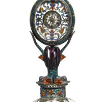 717. a silver-gilt and enamel boudoir time piece, vienna, late 19th century