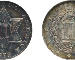 10. three-cent piece, silver, 1858, ngc ms 65