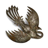 3014. a silver-plated copper 'phoenix' hair ornament tang dynasty  