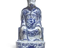 522. a blue and white figure of zhenwu ming dynasty, wanli period  
