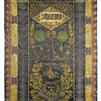 29. an ottomansilk and metal-thread embroidered wall hanging with tughra of sultan mehmed v (r.1909-18), turkey, early 20th century