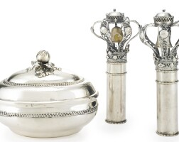 166. a pair of polish silver small torah finials and a german silver coveredbox, maker's mark lo and georg nicolaus bierfreund, nuremberg, early 19th century and circa 1790