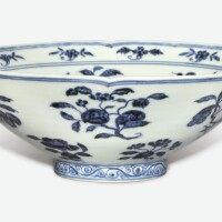 7. a fine blue and white lobed 'fruit and flower' bowl xuande mark and period