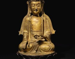 310. a large gilt-bronze figure of ksitigarbha ming dynasty, 16th / 17th century |