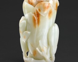 106. a celadon and russet jade 'magnolia' vase qing dynasty, 18th century |